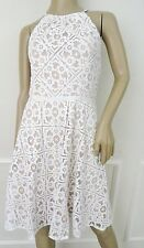 Nwt Maggy London Cutaway Burnout Lace Cocktail Party Fit Flare Dress Sz 14 White