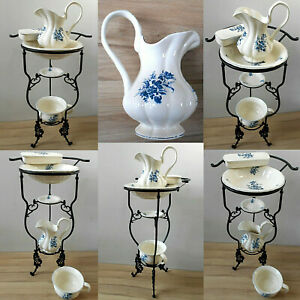 Wunderschoner-Waschtisch-mit-5-teiligem-Keramik-Waschset-mit-Blumendekor-2bl