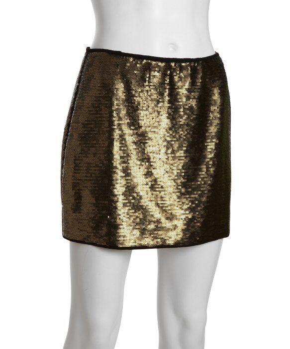 New BCBG Maxazria Sz M Skirt Catrine gold Combo Bronze Sequin Mini  268