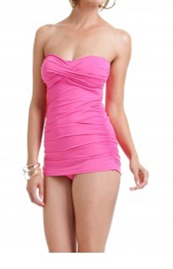 Anne Cole Signature Swimsuit One Piece Sz 8 Pink Ruched 14MD600 Swimdress