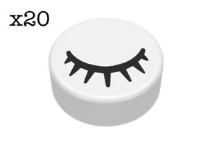 Pack of 20 1X1 Round White Tile Black Eye Closed with Eyelashes Pattern LEGO