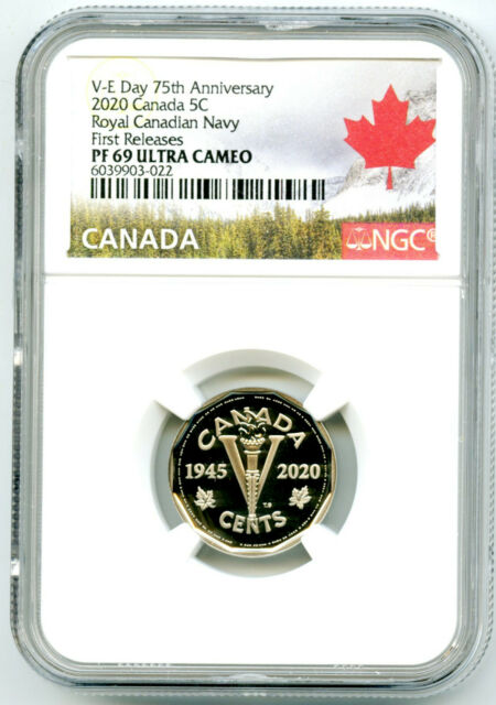 2020 CANADA 5 CENT V-E-DAY VE-DAY NAVY PROOF NGC PF69 UCAM FIRST RELEASE NICKEL
