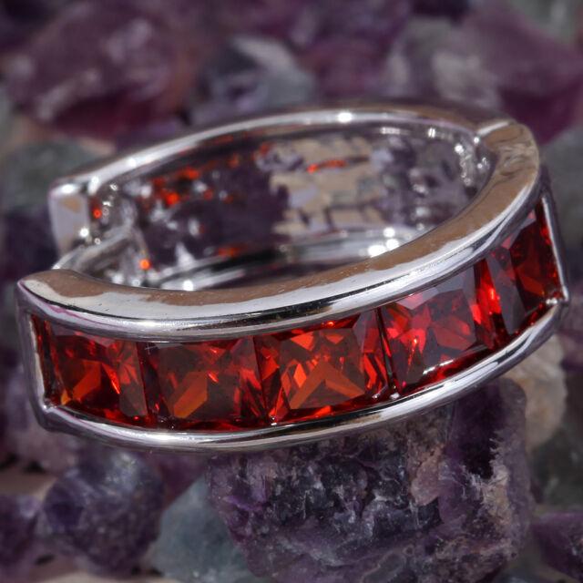 YazilindSilver Huggie Small Hoop Ruby Crystal Zircons Earrings Jewerly