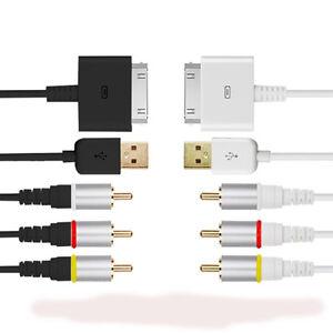 ROCKETFISH COMPOSITE AV/USB CABLE i Phone 4 4S i Pad iPod Touch TV ...