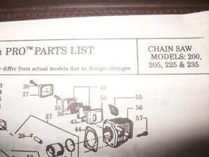 Poulan Pro 200 205 225 235 Chainsaw 1992 Illustated Parts List