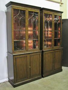 PAIR-Kittinger-Mahogany-Illuminated-Cabinets-Georgian-Gothic-Arch-Doors