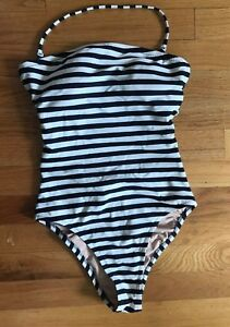 4acd4028f15 JCrew Cross-Back Bandeau One-Piece Classic Stripe Swimsuit 4 S H8253 ...
