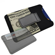 Mens Money Clip Belt Wallet -Boss Black & Grey- Faux Leather Cash 3 Card Holder