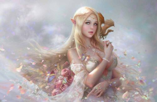 Modern Home Art Wall Decoration Blonde Elf Girl Oil Painting Printed On Canvas