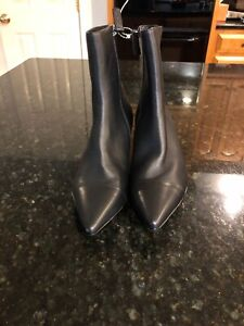 Anthropologie-Silent-D-Black-Leather-Healed-Boots-Size-38-New