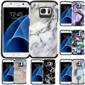 For-Samsung-Galaxy-S7-Marble-Design-Hybrid-Armor-Case-Protective-Phone-Cover