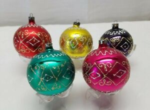Vintage-Blown-Glass-Christmas-Tree-Ornaments-Bauble-Balls-Gold-Pink-Blue-Purple