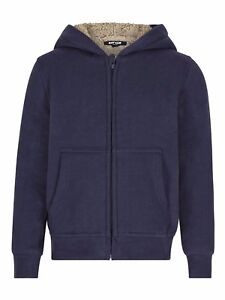BOYS-RIOT-CLUB-ENGLAND-BLUE-ZIP-UP-HOODED-SHERPA-LINING-JACKET-AGE-2-14-YEARS