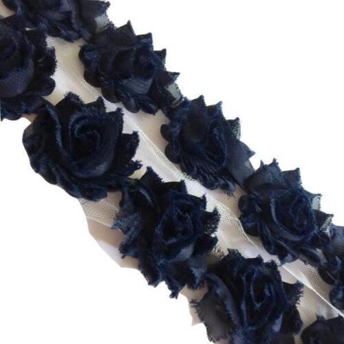 "Navy blue petite 1.5/"" shabby chiffon rose trim frayed flower 1//2 or 1 yard"