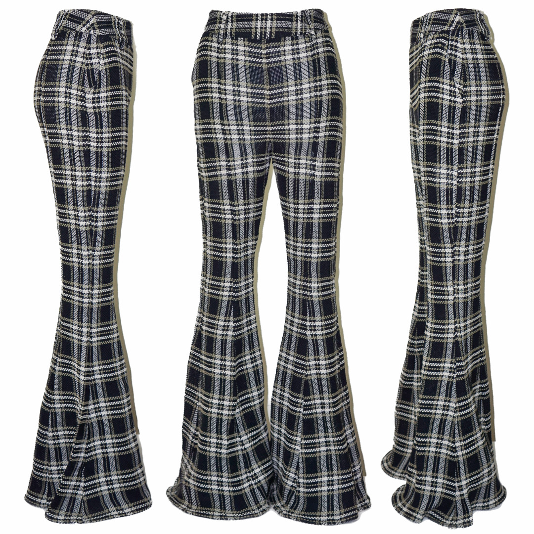BEAUFILLE Plaid Checked Flared Tartan High Rise W… - image 1