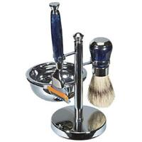 Kingsley Blue & Chrome Shave Set 4 Pc. Men's Gillette® Fusion Blade Sb-676 Boxed