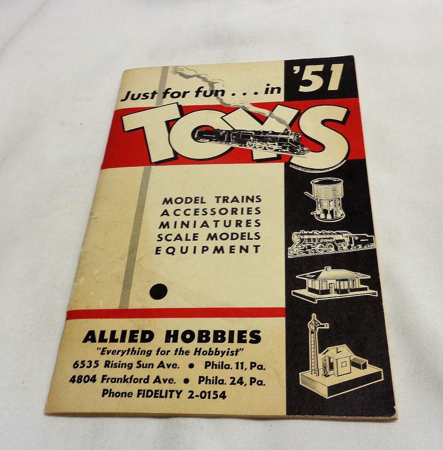 1951 Gilbert Juguetes Trenes Lionel aliadas pasatiempos American Flyer Catálogo Venta al por menor