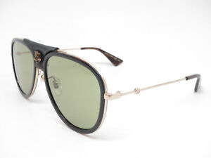Image is loading New-Authentic-Gucci-GG0062S-014-Gold-Black-with- e5d73a5218