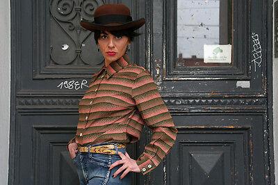 Modesto Camicia Donna Blusa Camicia Top 70er True Vintage 70s Blouse Shirt 100% Viscosa-mostra Il Titolo Originale