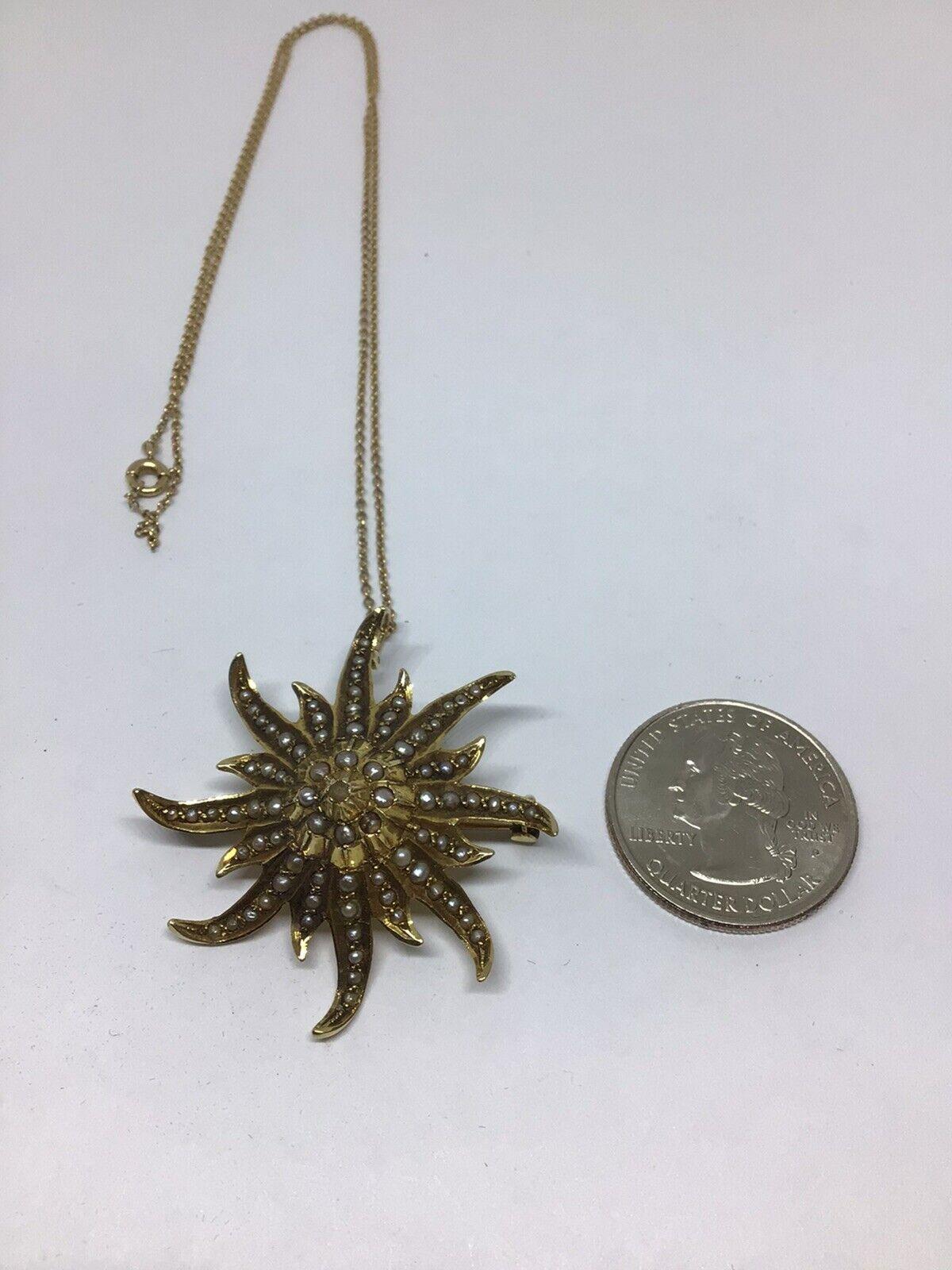 Enchanting Antique Victorian Pearl, 14 K Y G Star… - image 7
