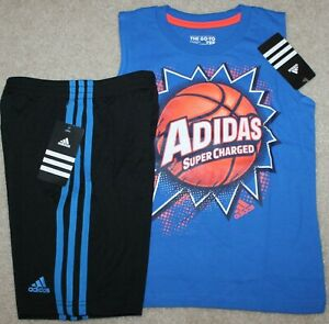 OUTFIT BOYS BY BUGLE BOY THEME BASKETBALL HOOPS SHORTS AND T SHIRT SIZE 4 NEW
