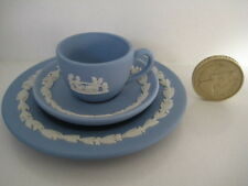 RARE WEDGWOOD BLUE JASPER MINIATURE TINY TRIO CUP SAUCER AND PLATE DOLL HOUSE