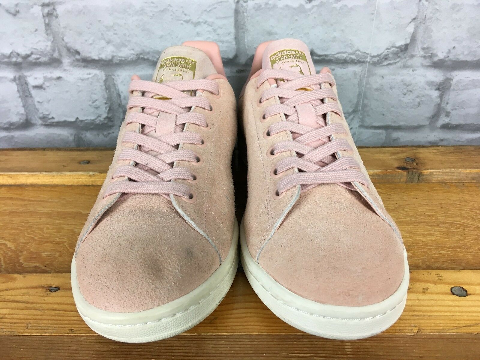 ADIDAS LADIES UK 6 EU 39 1/3 PINK SUEDE FOIL STAN SMITH TRAINERS GOLD FOIL SUEDE BRANDING b586db
