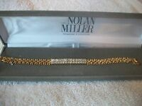 Nolan Miller Signed Bracelet Luxury & Glamour Goldtone Crystal Free Ship