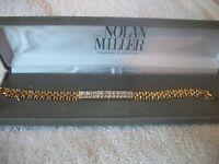 Nolan Miller Signed Bracelet Luxury & Glamour Goldtone Crystal Free Ship