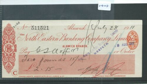 CHEQUE - CH1408 -  USED -1911 - NORTH EASTERN BANKING CO. ALNWICK