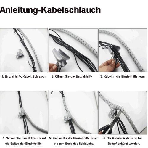 Flexible-Kabelspirale Spiralschlauch mit Einziehhilfe Ø 20 mm Länge 2.5m SCHWARZ