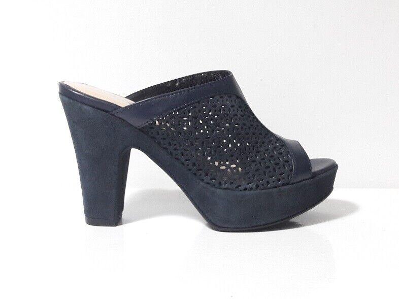 SANDALI SABOT chaussures femmes GP PER NOY PELLE CAMOSCIO bleu 35 TACCO PLATEAU ITALY