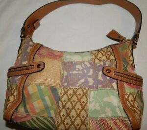 Handbag-Patchwork-Quilt-Fossil-Purse-Multi-Faux-Leather-canvas-Modern-Vintage