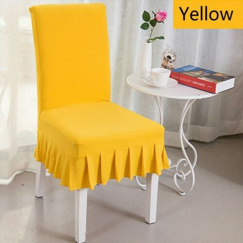 1PC Ruffled Chair Covers Stretch Spandex Wedding Kitchen Dining Seat Covers Red