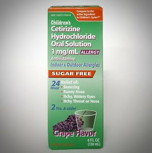 Details about CETIRIZINE Liquid (Compare to Zyrtec Syrup) by Taro - Grape  Flavor - 4oz