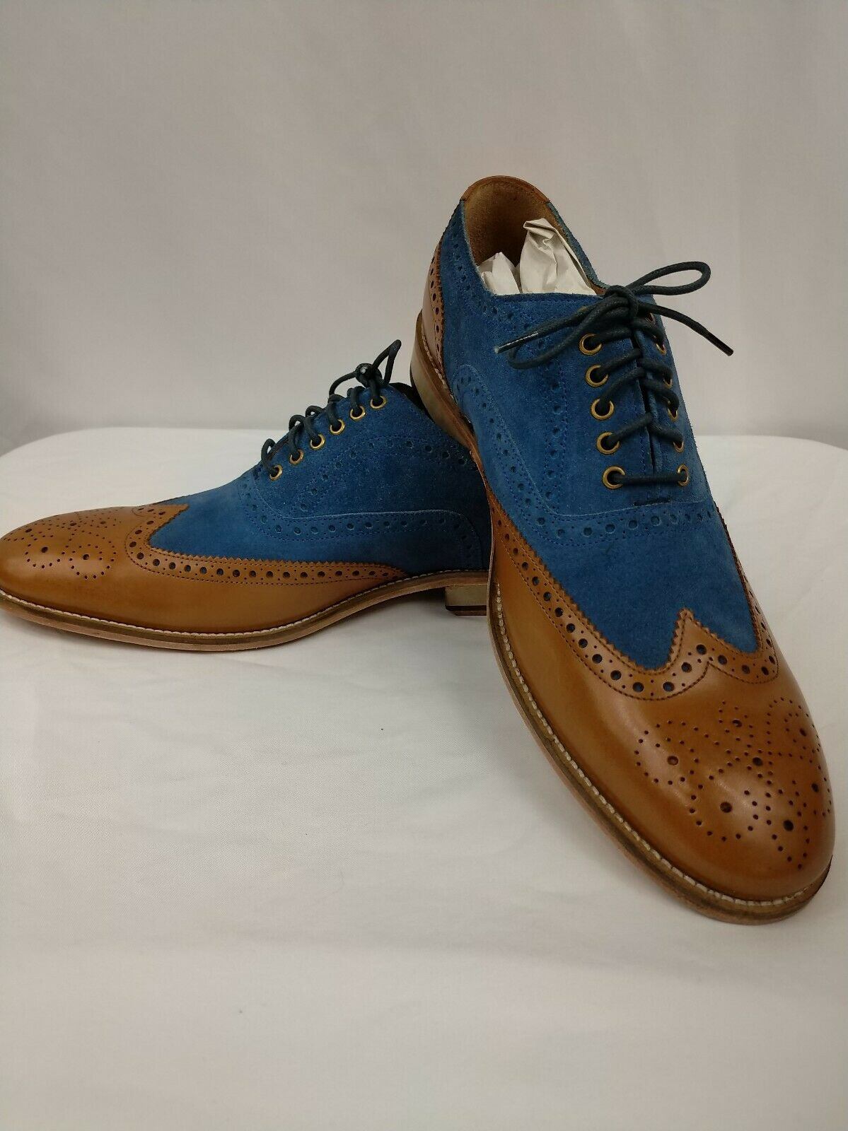 3dm Lifestyle Suede Combination Oxford Navy bluee and Tan Calf Skin Dress shoes