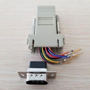 10PCS DB9 Female to RJ45 Female Modular Adapter Connector