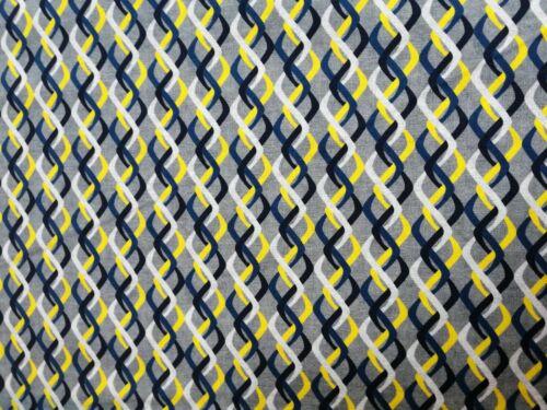 Cuarto gordo tela de algodón acolchado Rita por Stof retro líneas onduladas Gris Amarillo