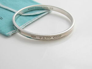 Image Is Loading Tiffany Amp Co Silver 1837 Oval Bangle Bracelet