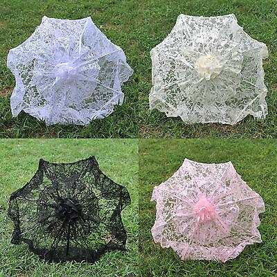 "White/Pink 24"" Deluxe Bridal Lace Parasol Wedding Umbrella Bridal Accessories"