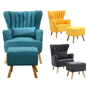 sessel mit fu hocker ohrensessel polstersessel fernsehsessel hoher r ckenlehne ebay. Black Bedroom Furniture Sets. Home Design Ideas