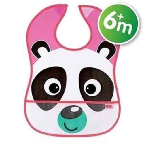 6m+ Nuby captar todos Babero Panda//Rosa