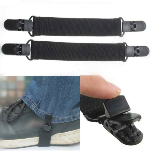 2X Adjustable Elastic Motorcycle Bike Boot Strap Pant Clips Stirrups Jod Clips#R