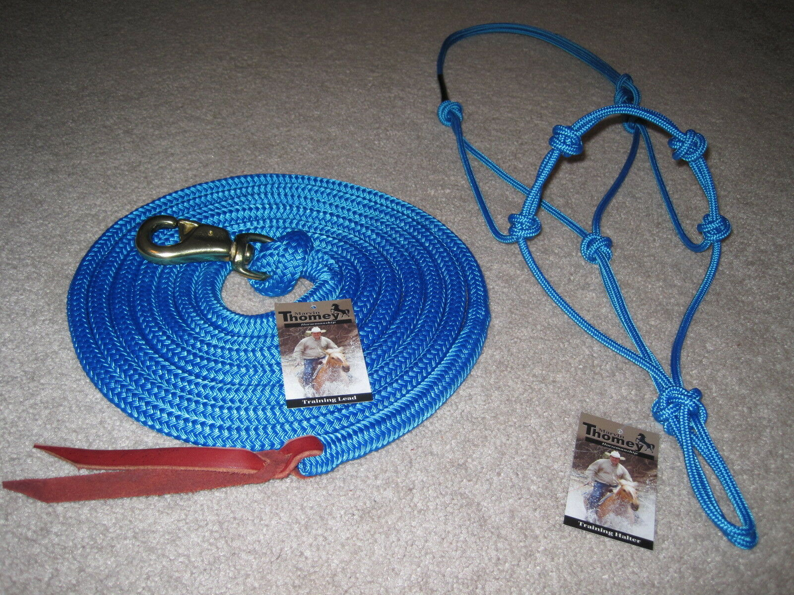 THOMEY NATURAL HORSE TRAINING HALTER & LEAD ROPE  blueE