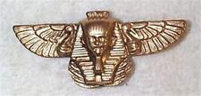 VINTAGE EGYPTIAN PHARAOH SPHINX / WINGS DETAILED BRASS STAMPINGS FINDINGS 6 PCS
