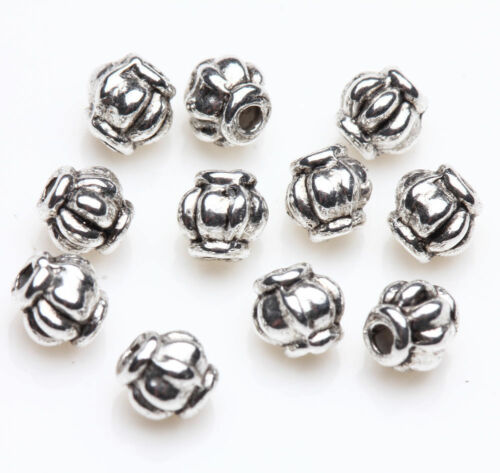 50Pcs Retro Tibetan Silver Spacer Lantern Shape Beads Jewelry Findings Craft 4MM
