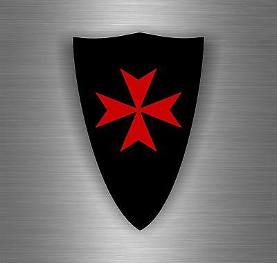 Sticker car biker maltese shield airsoft decal crusader cross templar knights A