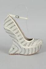 White Studded Rhinestone Jewel Ankle Strap Heel Less Curved High Wedge Pump 7.5