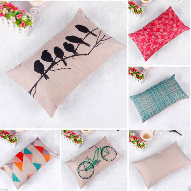 Linen Cotton Throw Pillow Case Rectangle Cushion Cover Home Sofa Waist Decor