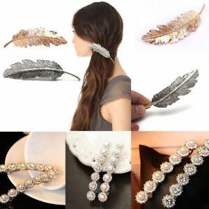 Jewelry-Women-Hair-Clip-Pearl-Hairpin-Shine-Rhinestone-Leaf-Barrette